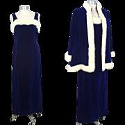 "Vintage 1960s Blue Velvet & White Mink Evening Gown Ensemble ""Femme Chic"" M"