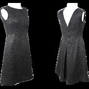 Vintage 1960s Bergdorf Goodman Balenciaga Copy Black Silk LBD Dress S/M