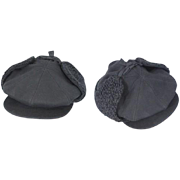 Vintage c. 1920 Black Wool 8 Panel Flat Cap w/Ear Flaps J. Collett/Marshall Field