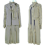 Vintage 1980s Galanos Navy & Cream Striped Silk Dress & Jacket XS/S