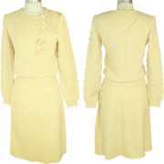 SALE Vintage 1970s Sonia Rykiel Ivory Popcorn Knit Sweater & Skirt Set XS