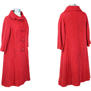 Vintage 1950s Hattie Carnegie Rose Silk Ottoman Coat XS