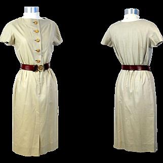 Vintage 1950s Junior Sophisticates Khaki Poplin Dress w/Brass Buttons XS/S