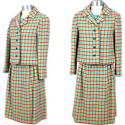 Vintage 1960s Tiffeau & Busch 3-Piece Checked Wool Tweed Spring Suit XS