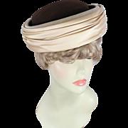 Vintage 60s Schiaparelli Chocolate Wool & Cream Satin Breton Hat