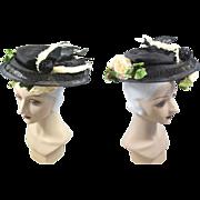 "Edwardian c.1905 Black Horsehair Braid Plateau Hat w/""Bird""Accent"