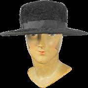 Antique c.1917 Plush Black Fur Felt Ladies' Hat