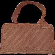 Vintage 1940s LeFaye Chocolate Brown Corde Vanity Box Purse