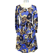 Vintage 1970s Givenchy Nouvelle Boutique Psychedelic Floral Silk Dress