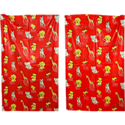Vintage 50s Puritan Cotton Nursery Zoo Print Curtain Fabric 2 Panels