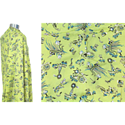 SOLD Vintage 40s/50s Chartreuse Novelty Print Rayon Crepe Farm Motifs 3 Yds