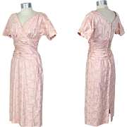 Vintage 1960s Embroidered Pink Sateen Dress w/Cummerbund Waist XS