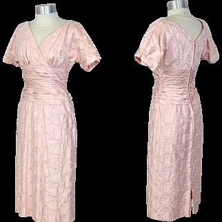 Vintage 1960s Embroidered Pink Sateen Dress w/Cummerbund Waist XS