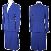 Vintage 1940s Cobalt Blue Wool Suit w/Arrow Pockets M