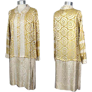 SOLD Vintage 1920s Gold & Cream Art Deco Swirl-Pattern Silk Damask Dress XS/S