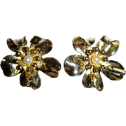 Vintage 40s Napier Sterling Dogwood Blossom Clip Earrings