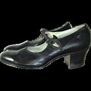 "Deadstock 20s/30s Black Leather Art Deco One Strap Pumps Walkover ""Princess Pat"""