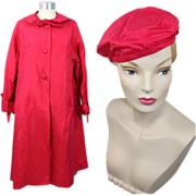 Deadstock Vintage 1950s Lawrence of London Rose Silk Raincoat & Beret S/M