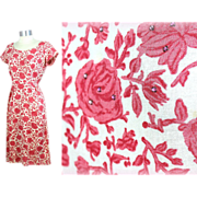 Vintage 1960s Liberty of London Floral Print Linen Dress w/Rhinestones S/M