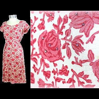Vintage 1960s Liberty of London Floral Print Linen Dress w/Rhinestones S/M