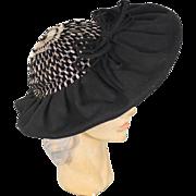 Vintage 30s/40s Black Wool Wide Brim Hat w/Crocheted Metallic Crown