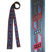 Vintage 60s Emilio Pucci Black Silk Brocade Square Bottom Skinny Tie