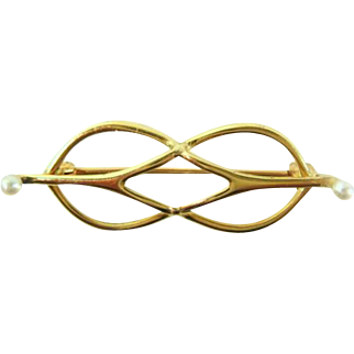1890s Art Nouveau 14K Gold & Seed Pearl Lace Pin Brooch