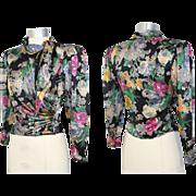 Vintage 80s Ungaro Parallele Floral Silk Draped Blouse XS