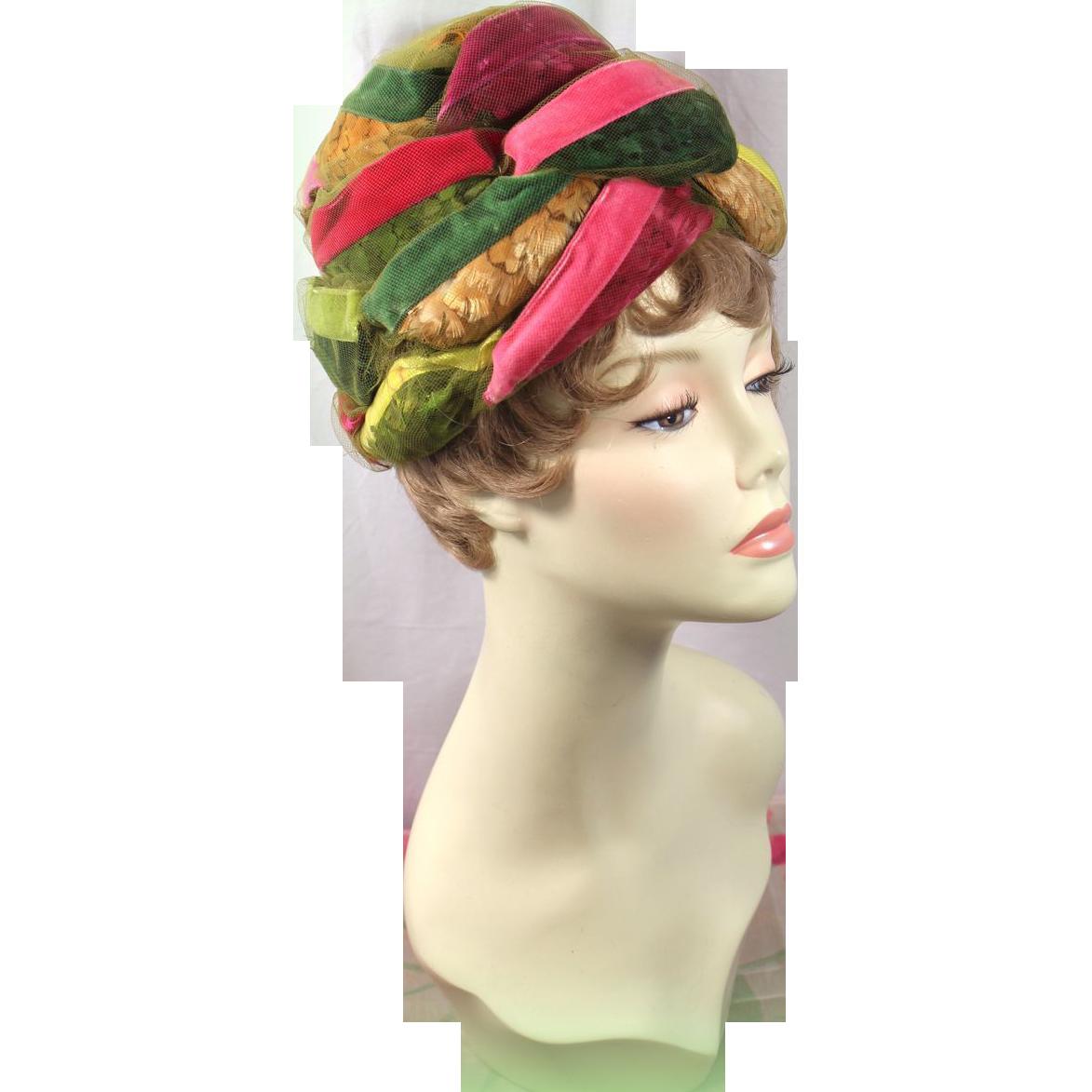 Vintage 60s Christian Dior Chapeaux Velvet Ribbon & Feather Turban Hat