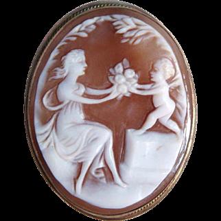 Circa 1920s Cupid & Venus Shell Cameo Pendant-Brooch 800 Silver