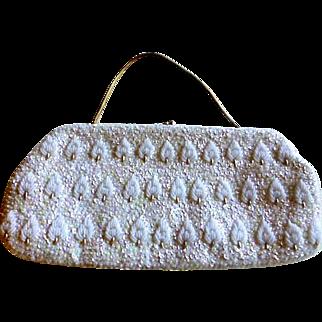 White Walborg Beaded Evening Bag Made in Hong Kong