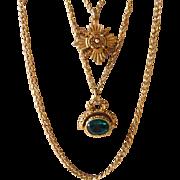 Vintage Goldette Multi Strand Fob Necklace