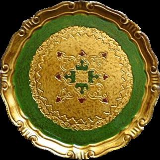 Ornate Florentine Italian Made Wood Tray