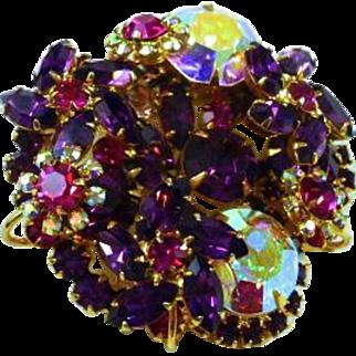 Juliana D&E Purple Tiered Brooch