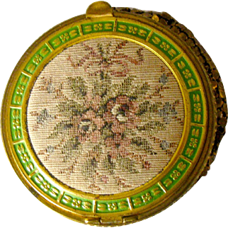 Vintage Tapestry and Metal Mesh Compact