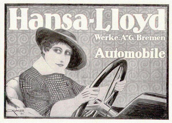 1916: German Company Hansa Lloyd advertisement. Artist signed.