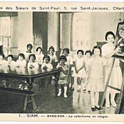 Siam, Thailand Mission Postcard Teachers and Pupils