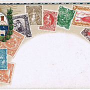 American Stamps: 2 old lithographed Postcards Barbados and Uruguay