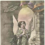 Angel ringing the Bells: Tinted Postcard from 1918