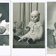 Three Photo Postcards Girls with Teddy Bears