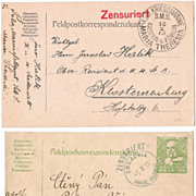 2 Censored Postal Cards from Ships, WW1 Austria