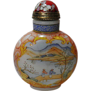 Chinese Porcelain Snuff Bottle, enameled Porcelain