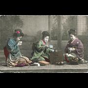 SOLD Japanese vintage Postcard with Ladies drinking Tea
