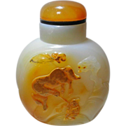 Chinese Cameo Agate Snuff Bottle Horse and Boy
