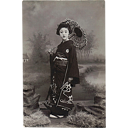 SOLD Old Japanese Photo Postcard with Geisha