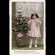 Xmas Postcard Girl with Doll 1909