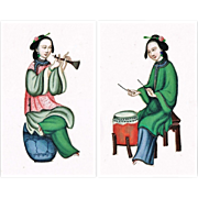 2 Musicians Antique Chinese Paintings on Rice-Paper