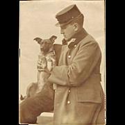 Soldier and Puppy, Vintage Photo World War 1