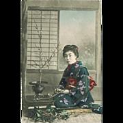 SOLD Japanese Lady doing Ikebana Vintage Postcard