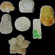 7 Hardstone Beads Chinese Jade and Jadeite